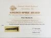Golden Spike Certificate - 27 March 2009